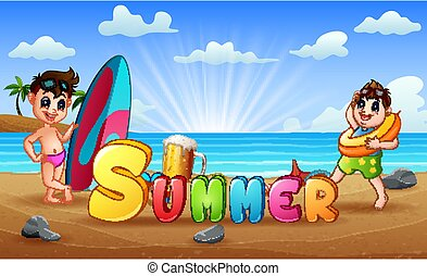 Summer holiday with children on tropical beach