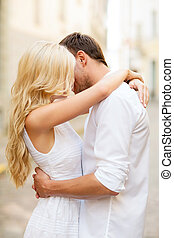 couple in the city - summer holidays and dating concept -...