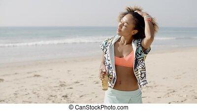 Summer Holidays And Vacation - Young happy woman enjoying...