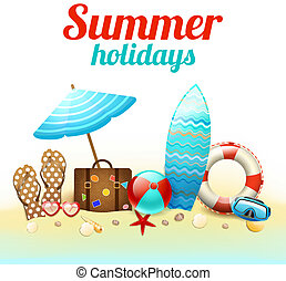 Summer holidays beach background poster with flip-flops ball sunglasses vector illustration