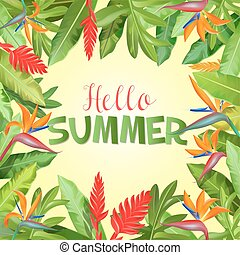 Summer Holidays Background with Palm Leaves. Vector illustration