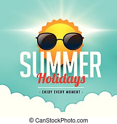 summer holidays background with sun wearing sunglasses