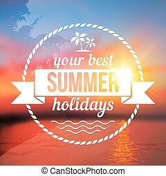 Summer holidays background with text design