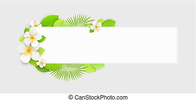 Summer holidays background with tropical flowers