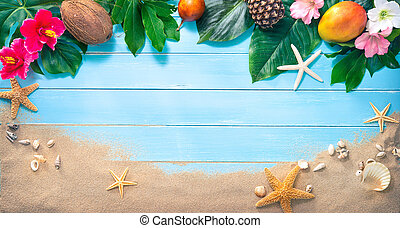 Holidays background with tropical flowers, leaves, exotic fruits and seashells on sand beach