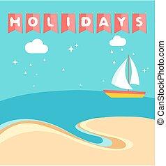 Summer holidays beach scene with ship sailing a sea