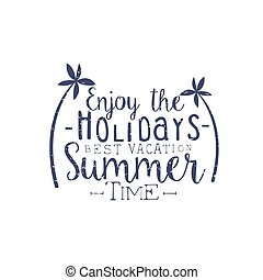 Summer Holidays Black And White Vintage Emblem