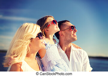 happy family with blue sky