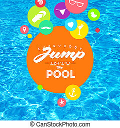 Summer holidays colorful vector illustration with pool water and type design