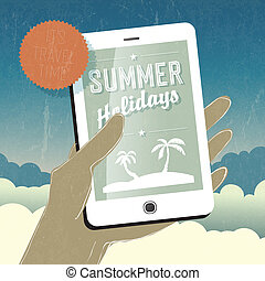 Summer holidays conceptual illustration. Smart phone in hand. Vector