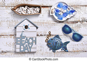summer holidays flat lay with marine decors
