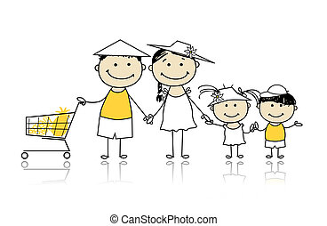 Summer holidays. Happy family with shopping basket for your design