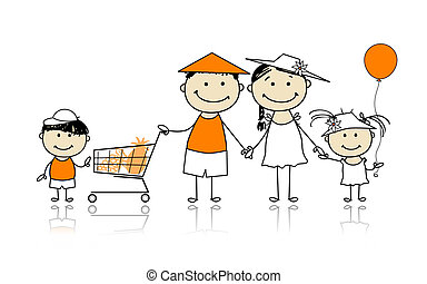 Summer holidays. Happy family with shopping basket for your ...