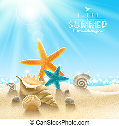 Summer holidays illustration - sea inhabitants on a beach ...