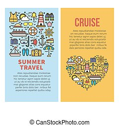 Summer holidays or sea cruise travel vector posters...