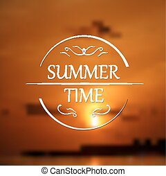 Summer holidays poster with sunset blurred background