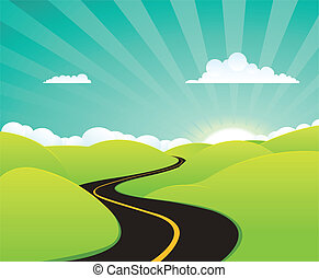 Summer Holidays Road - Illustration of a cartoon summer or...