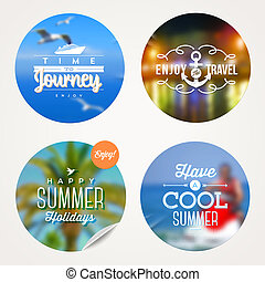 Summer holidays, travel and  vacation - set of colorful sticker with type design on a defocused background