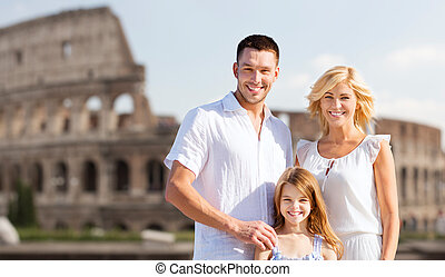 happy family in rome over coliseum background - summer...