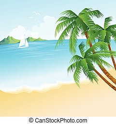 Summer holidays vector background  with palm leaves and sea