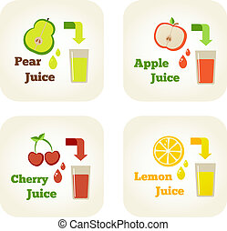 Summer holidays vector illustration set with fruit juices.