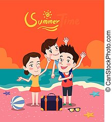 Summer holidays vector illustration,flat design family and beach, concept