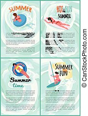 Summer Hot and Fun Swimming People Posters Set
