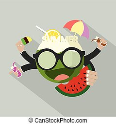 Summer Icon Flat Design Vector Illustration