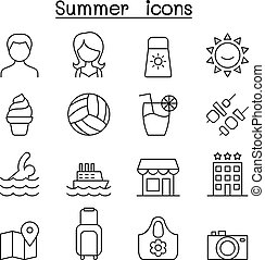 Summer icon in thin line style