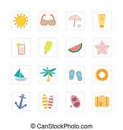 Summer icon set. Designed for illustration, infographics,...