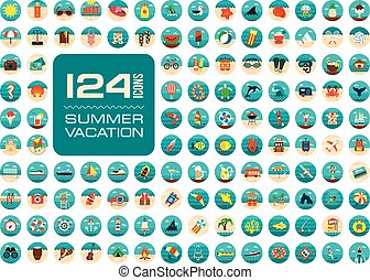 Summer icon set. Summertime. Vacation - Summer vector icon...