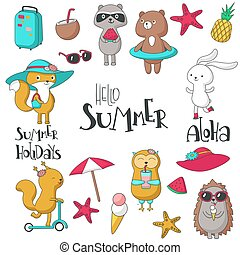 Summer icon set vector hand drawn illustration