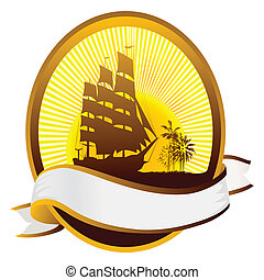 Summer icon - Summer tourism icon with ship silhouette,...