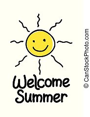 Summer Icon - Welcome summer icon with simple cute sun...