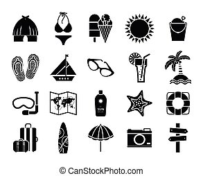 Summer icons black on white