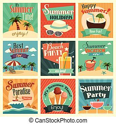 Summer icons - A vector illustration of summer icon sets