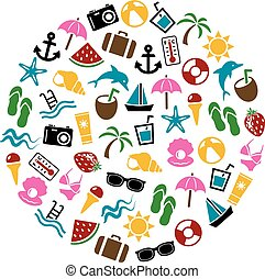 summer icons in circle