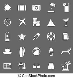 Summer icons on gray background
