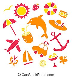 Summer icons set. Hand drawn collection. Summer elements
