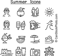 Summer icons set in thin line style
