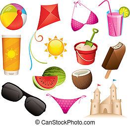 Set of 13 summer and beach vector icons
