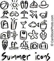 summer icons with gray shadow vector illustration sketch hand drawn with black lines isolated on white background