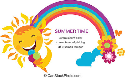 summer illustration of a happy sun, rainbow and colorful flowers. illustration