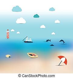 Summer illustration of sun beach. Turquoise see, ship,...