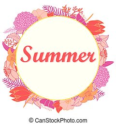 Summer illustration with bright flowers in a round on a white background.