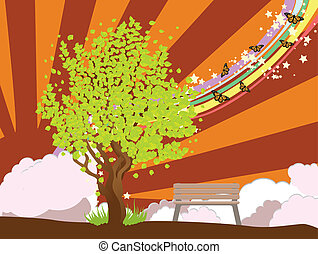 Summer illustration with green tree