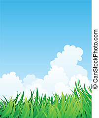 countryside illustration, green grass and blue sky.
