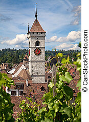 Summer in Schaffhausen - View on famous St.Johann vhurch in...
