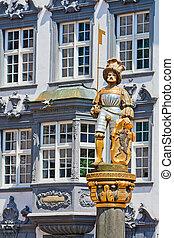 Summer in Schaffhausen - Knight figurine on fountain in...