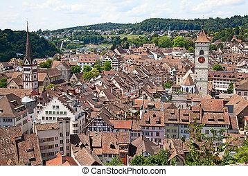 Summer in Schaffhausen - View on Schaffhausen old town,...